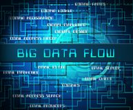 Bigdata Flow Stream Of Big Data 2d Illustration. Shows A Fluid Information Cloud System With Network And Processes vector illustration