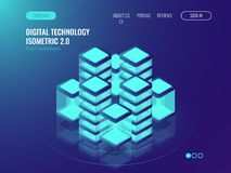 Bigdata processing and data center concept, server room, lighting isometric technology cube, abstract hitech neon. Background Royalty Free Stock Photos