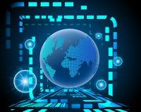 Bigdata sem fio da conexão de Internet do cyber global do mundo ilustração stock