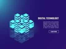 Bigdata traitant le concept, stockage de nuage, données entreposant, icône de databse, obscurité au néon illustration stock
