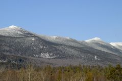 Bigeolw Mountains. The Bigeolw mountain range in the centeral mountains of Maine on a winters day stock photo