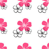 BigFlowers-02. Pattern made from colored hand drawn flowers on the white background. Vector illustration Royalty Free Stock Photography