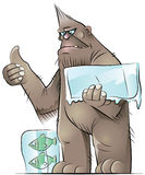 Bigfoot. A brown hitch-hiking bigfoot with frozen fishes Stock Photography