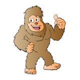 Bigfoot cartoon illustration. Happy bigfoot Stock Photo
