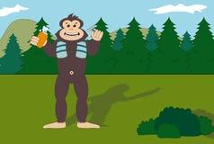 Bigfoot che si rade nella foresta Fotografia Stock Libera da Diritti