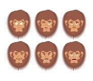 Bigfoot emoji set. Yeti sad and angry face. Abominable snowman g Royalty Free Stock Photo