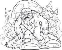 Bigfoot geht durch den Wald stock abbildung