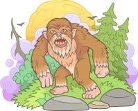 Bigfoot geht durch den Wald lizenzfreie abbildung