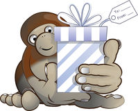 Bigfoot giving a gift Stock Images
