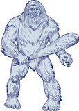 Bigfoot Holding Club Standing Drawing. Drawing sketch style illustration of a Bigfoot or Sasquatch, a simian-like creature of American folklore that  inhabit Royalty Free Stock Photo