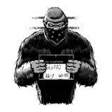 Bigfoot mugshot. Black and white .Cartoon illustration vector illustration