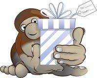 Bigfoot que dá um presente Imagens de Stock