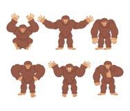 Bigfoot set poses and motion. Yeti happy and yoga. Abominable sn Royalty Free Stock Image
