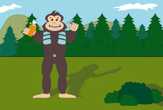 Bigfoot shaving in the forest. Illustration of a nice smiling Bigfoot while shaving in the forest Royalty Free Stock Photography