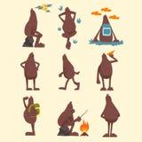 Bigfoot tecknad filmtecken - uppsättning, rolig mytisk varelse i olika lägevektorillustrationer på en vit stock illustrationer