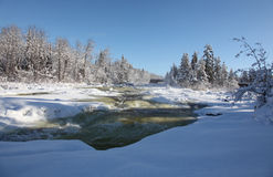 Bigfork flod under winter-4 Arkivfoto