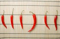 bigg chili kierunku pięć nieatutowi pieprze wyprostowywają fotografia stock
