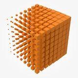 Bigger cube dissolving to smaller cubes. Suitable for technology and abstract themes vector illustration