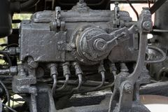 Bigger details on the old steam locomotive. Heavy iron parts. Locomotive in parts. Close-up. Bigger details on the old steam locomotive. Heavy iron parts royalty free stock images