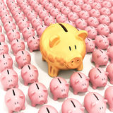 Bigger golden piggy bank standing. Out from others Royalty Free Stock Image