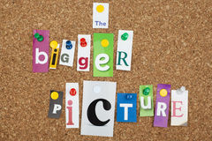 BIGGER PICTURE. The Bigger Picture single letters pinned on cork noticeboard Royalty Free Stock Image