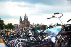 The biggest bike parking in the world, in Amsterdam. Netherlands Royalty Free Stock Photos