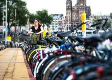 The biggest bike parking in the world, in Amsterdam. Netherlands Royalty Free Stock Photography