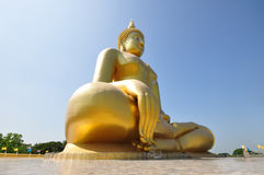 Biggest Buddhist sculpture in Thailand. Big golden Buddhist sculpture at Wat Muang, Aungtong, Thailand Royalty Free Stock Photos