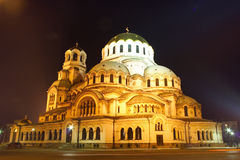 The biggest cathedral in Bulgaria by night Stock Photography