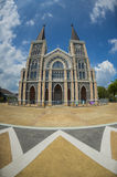 The biggest Catholic church in Thailand in fisheye view Royalty Free Stock Image