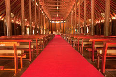 Biggest catholic wood church of Thailand Stock Photos