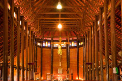 Biggest catholic wood church of Thailand Stock Photography