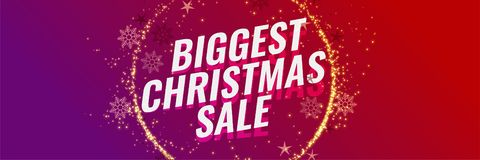 Biggest christmas sale banner template stock illustration