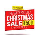 Biggest Christmas Sale Banner Vector. Sale background. Isolated On White Illustration stock illustration