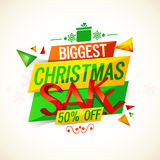 Biggest Christmas Sale Paper Banners design. Biggest Christmas Sale paper banner, Sale and Discount flyer, Colorful tag or label design, 50% Off, Glossy Stock Photos