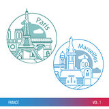 Biggest cities of France. Paris and Marseille. One line trendy style. Modern flat design. Round composition. Set of web icons or Logo for tourism or political Stock Photos