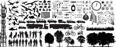 Biggest collection of vector. Biggest collection of different vector silhouettes on white Royalty Free Stock Image