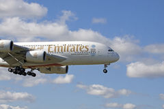The biggest commercial ariplane at this moment Airbus A380 emirates Royalty Free Stock Photo