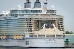 Biggest cruise ship, Allure of the Seas. Fort Lauderdale, Florida, USA - September 23, 2012: Close up of the back side of the biggest cruise ship, Allure of the Stock Photo