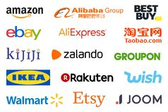 Biggest e-shops logo collection. High quality logo collection set of the biggest e-commerce online shopping sites such as Amazon, eBay, Alibaba and Wish isolated stock illustration