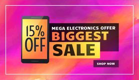 Biggest electronics sale banner poster flyer template. Vector Royalty Free Stock Photography