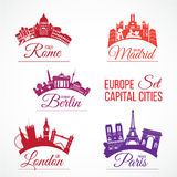 Biggest Europe capital cities royalty free illustration