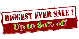 Biggest ever sale up to eighty percent off Stock Photo