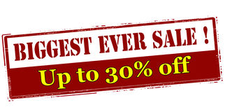 Biggest ever sale up to thirty percent off Royalty Free Stock Photography