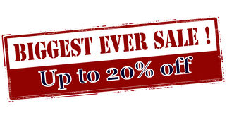 Biggest ever sale up to twenty percent off Stock Photography