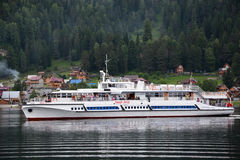 Biggest excursion ship at Teletskoye lake Stock Images