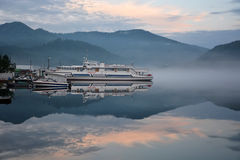 Biggest excursion ship at Teletskoye lake Stock Photos