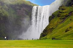The biggest fall Skogafall in Iceland stock photography
