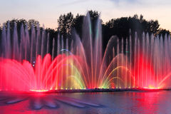 Biggest fountain on the river in Vinnytsia, Ukraine Stock Photos