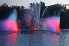 Biggest fountain on the river in Vinnytsia, Ukraine Royalty Free Stock Images